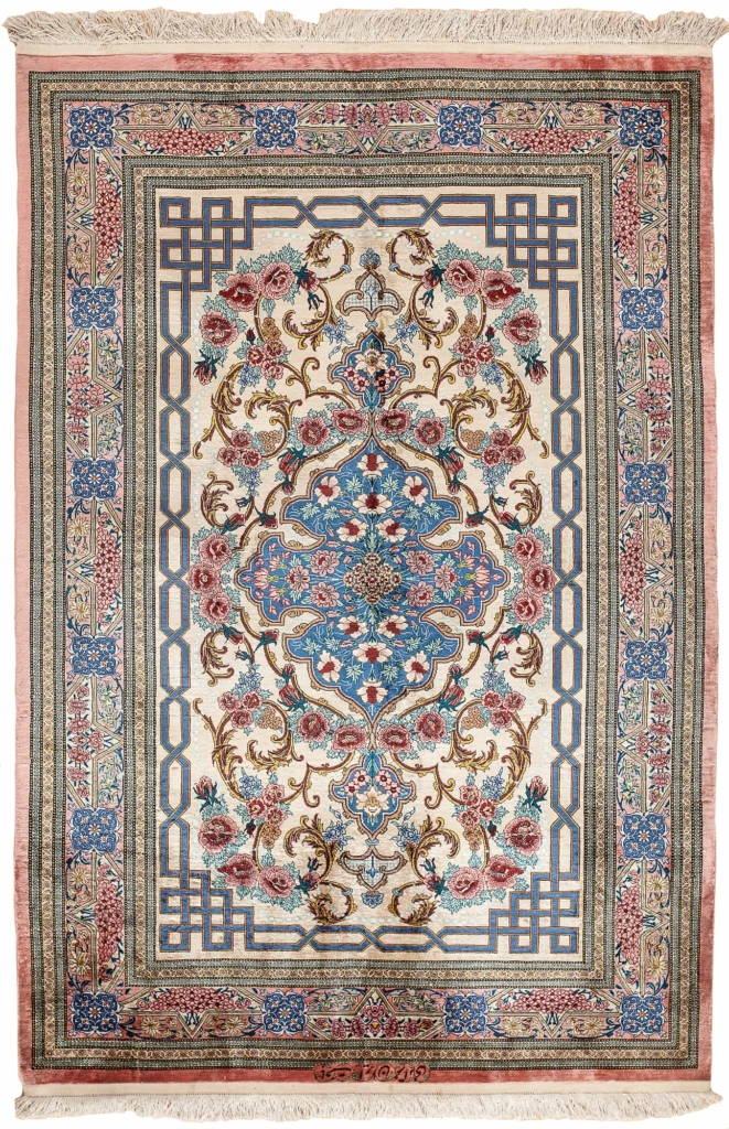 Exquisite Very Fine, Signed Persian Qum Rug at Essie Carpets, Mayfair London