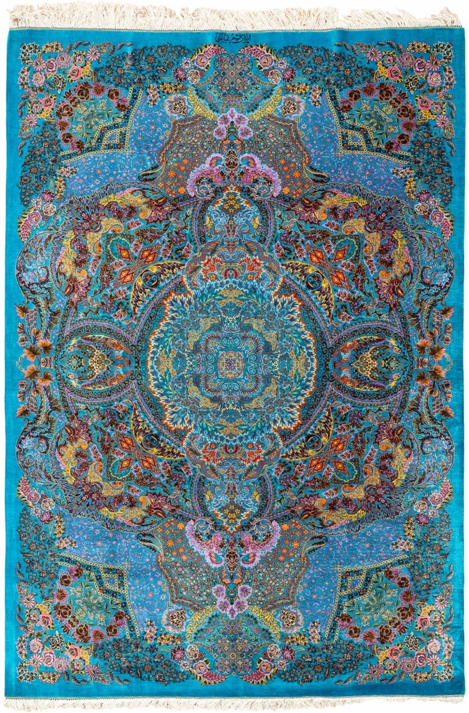 Very Fine Signed Persian Qum Silk Carpet Rug at Essie Carpets, Mayfair London