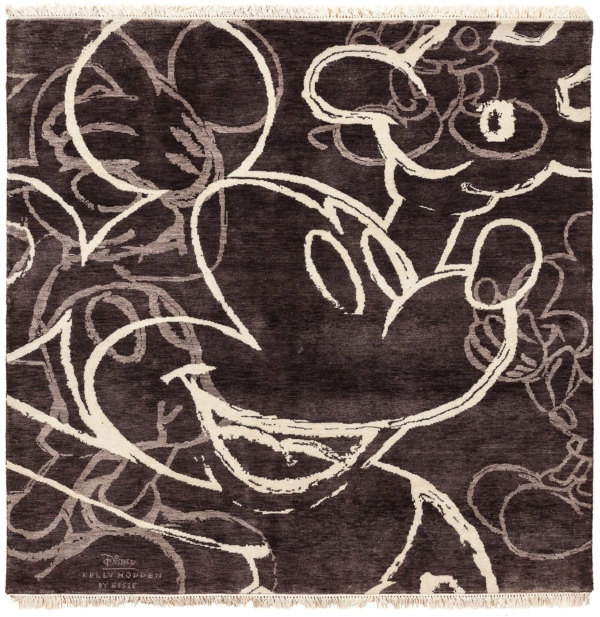 Square Central Mickey with White Chalk on Graphite Rug at Essie Carpets, Mayfair London