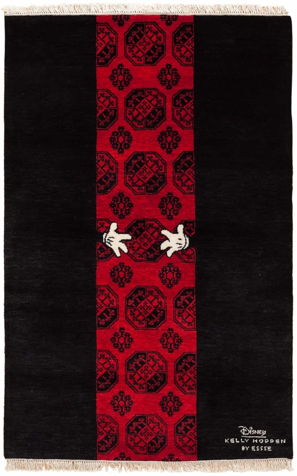 Central Mickey White Gloves on Red Vertical Central Background Rug at Essie Carpets, Mayfair London