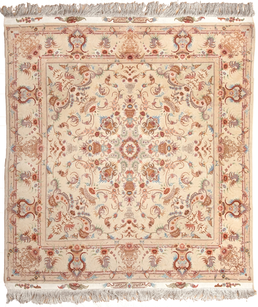 Square Signed Persian Tabriz Rug at Essie Carpets, Mayfair London