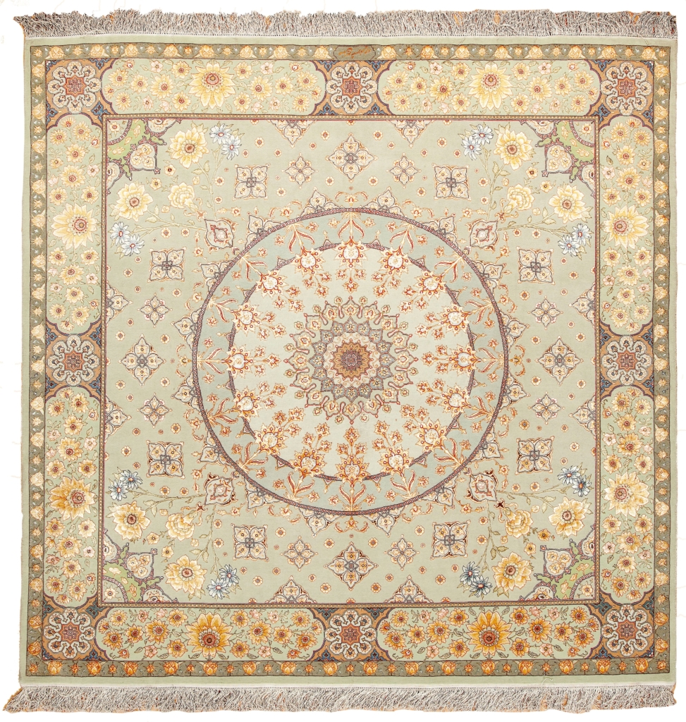Fine Tabriz Signed Square Shaped Rug at Essie Carpets, Mayfair London