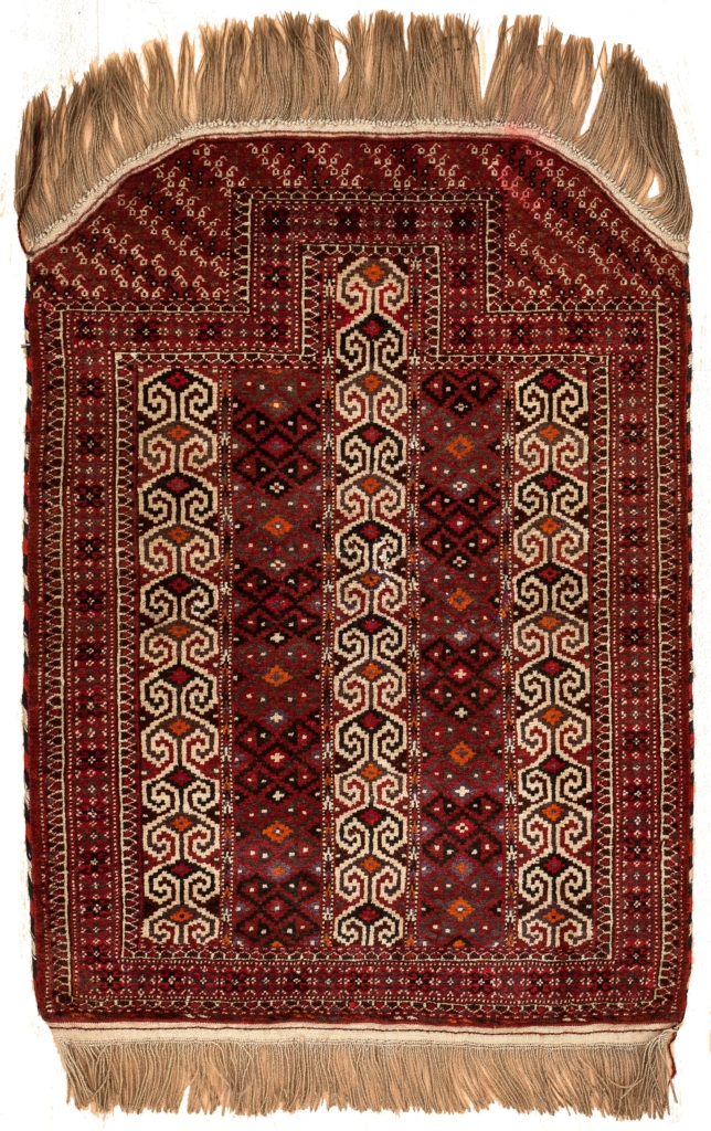 Very Old Turkoman Mihrab Rug at Essie Carpets, Mayfair London
