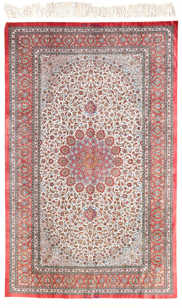 Extremely Fine and Rare Signed Persian Qum Rug at Essie Carpets, Mayfair London