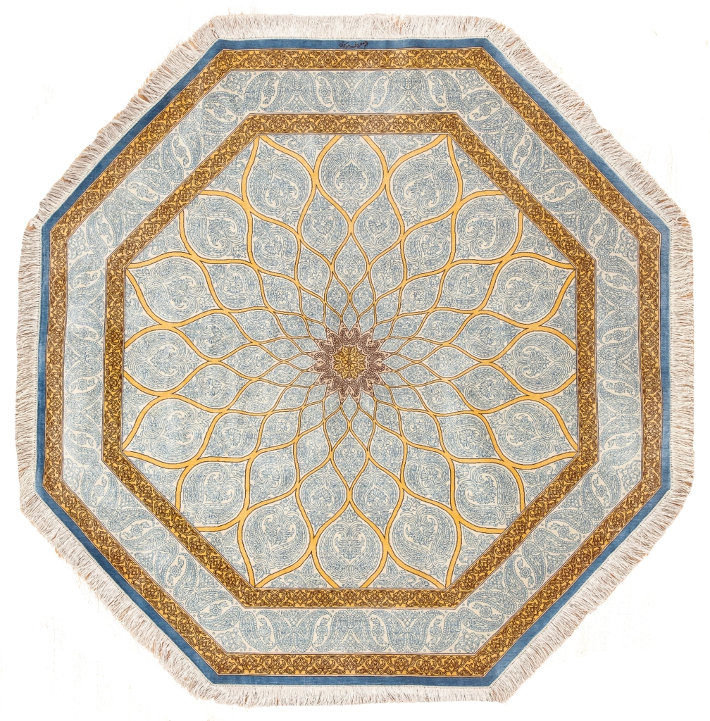 Octagonal Extremely Fine Qum.  Signed and Rare Rug at Essie Carpets, Mayfair London