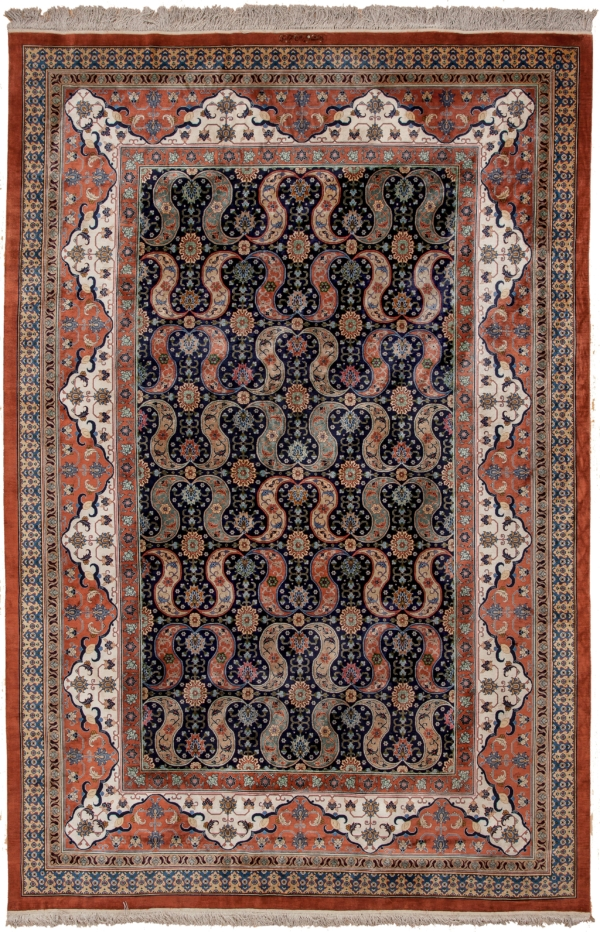 Signed Very Rare Qum  Rug at Essie Carpets, Mayfair London