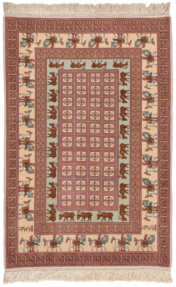 Fine Persian Tabriz Signed Horses and Reindeer  Rug at Essie Carpets, Mayfair London