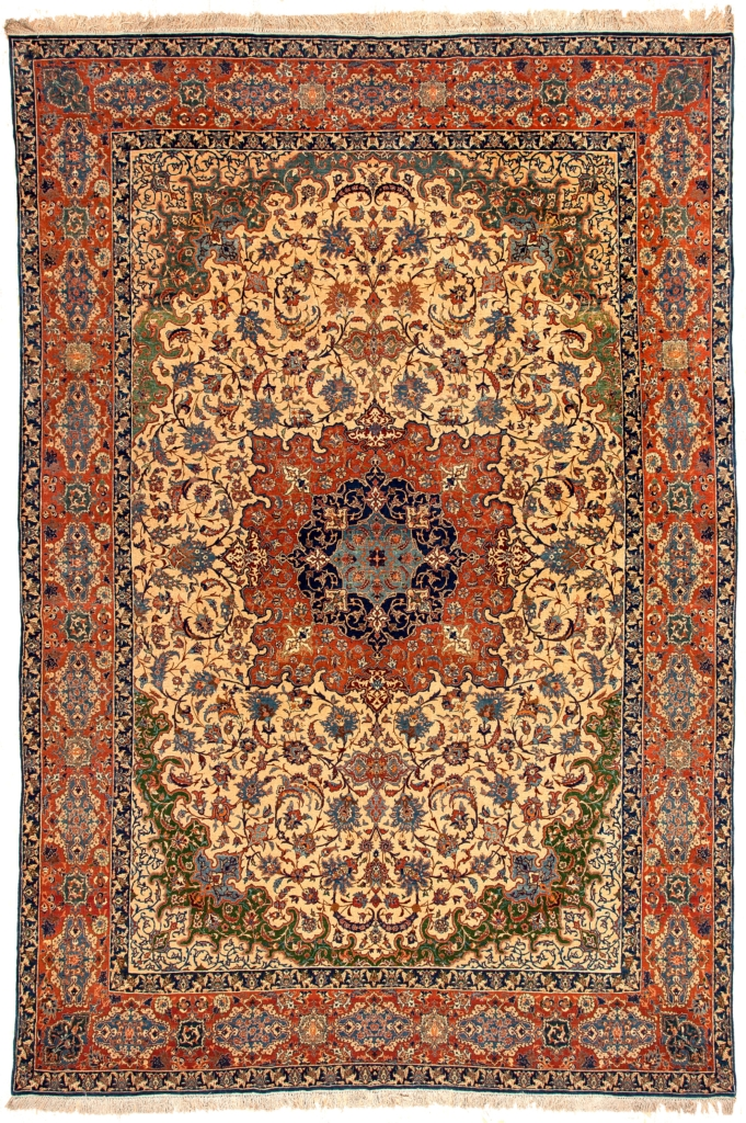 Fine Persian Esfahan Carpet at Essie Carpets, Mayfair London