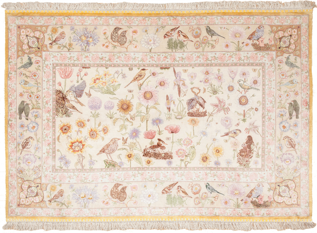 An Exquisite Persian Tabriz Signed Mid 20th Century Allover design Silk and Fine Kork Wool (Cashmere) on Silk foundation Cream Rectangle
