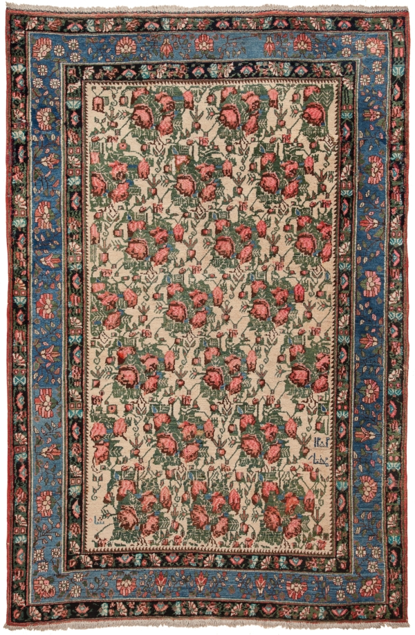 Old Signed Persian Afshar Gol Farangi Rug at Essie Carpets, Mayfair London
