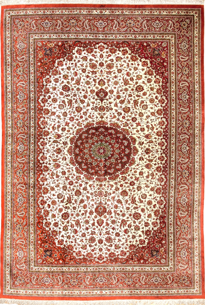 Extremely Fine, Signed Persian Qum Carpet at Essie Carpets, Mayfair London