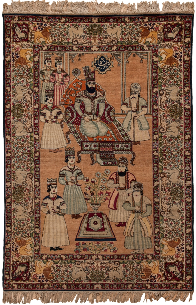 Persian King, Fine, Signed Antique Persian Kashan Rug at Essie Carpets, Mayfair London
