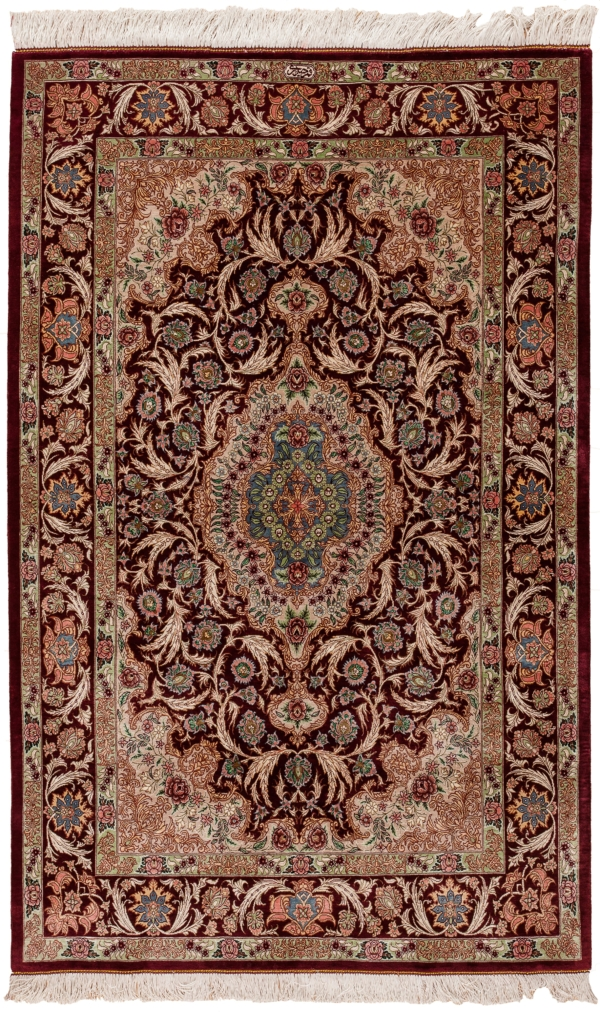 Extremely Fine, Signed  Qum Rug at Essie Carpets, Mayfair London