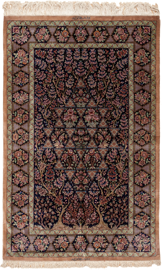 Very Fine Signed Persian Qum Tree of Life  Rug at Essie Carpets, Mayfair London