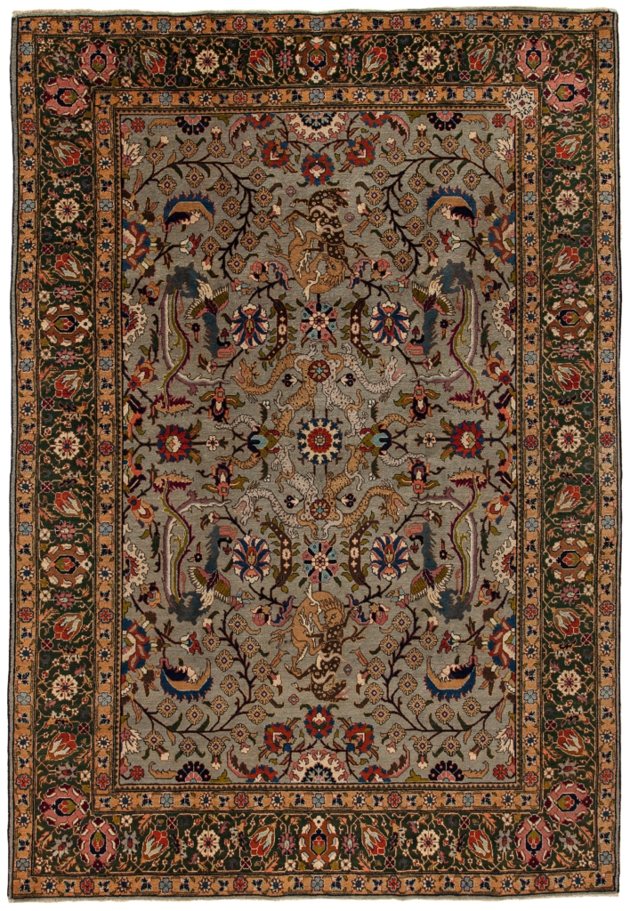 Fine, Signed Persian Tabriz with Dragons Rug at Essie Carpets, Mayfair London