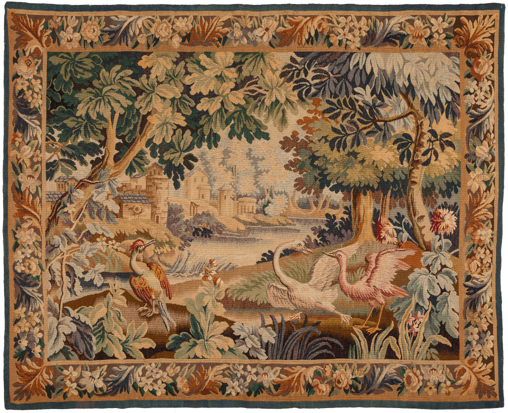 Antique Tapestry Castle Swan at Essie carpets Mayfair London