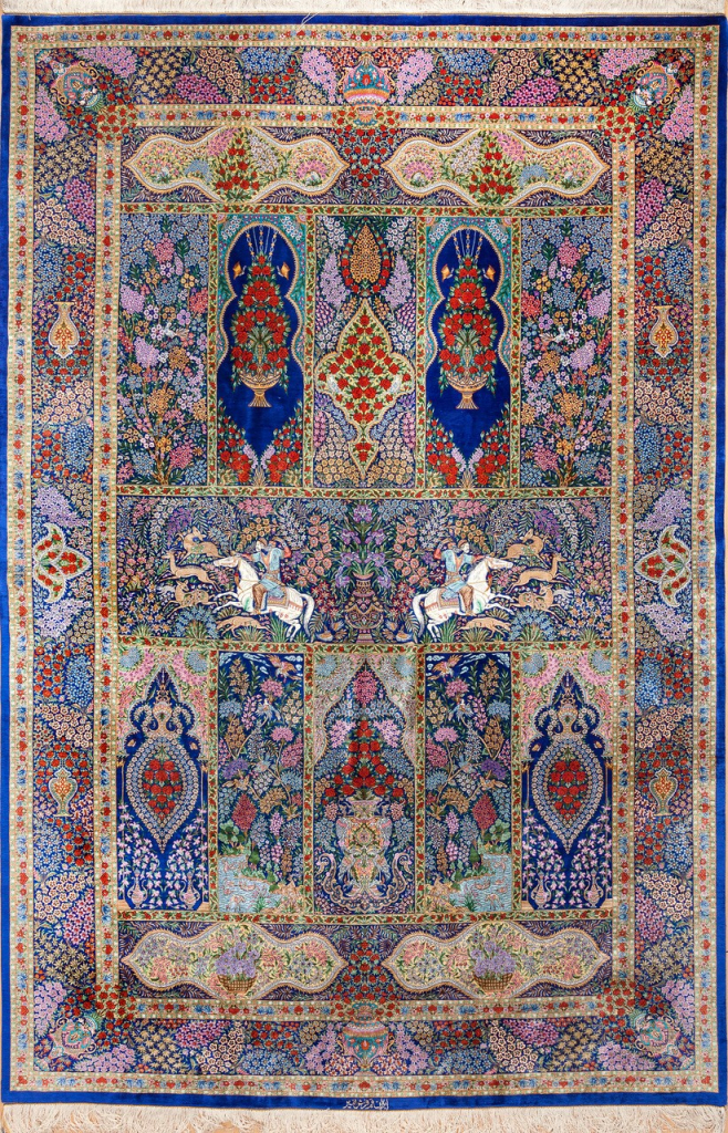 Signed Qum Persian Carpet Essie carpets Mayfair London