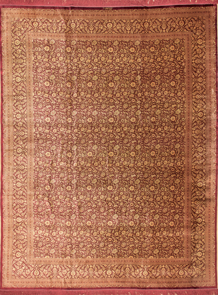 Signed Very Fine Pure Silk Persian Qum Carpet at Essie Carpets, Mayfair London