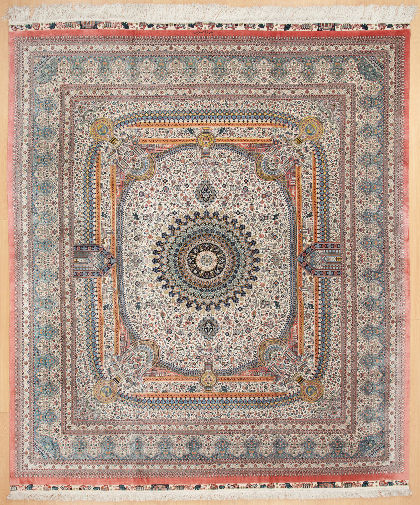 Signed Square Shaped Very Fine Persian Qum  Rug at Essie Carpets, Mayfair London