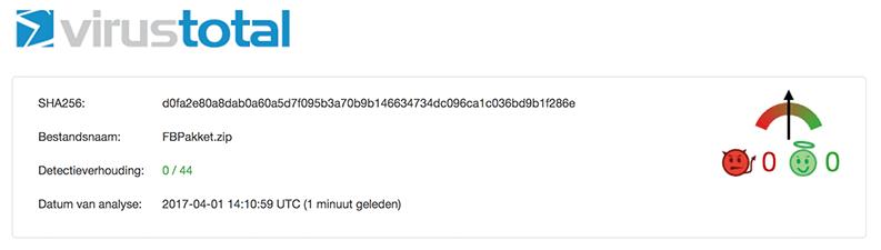 VirusTotal uitslag