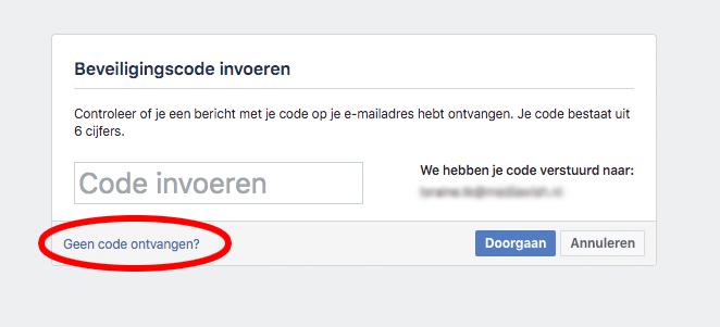 Facebook code voor het herstellen van een wachtwoord