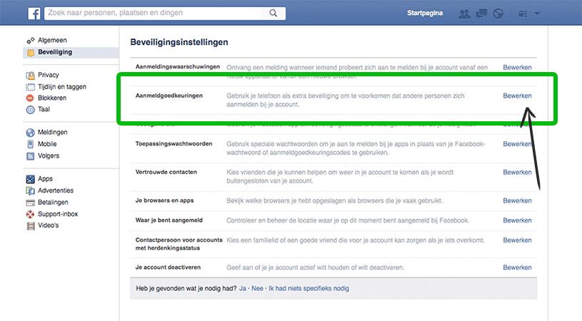 Tweestapsverificatie: Extra beveiliging van Facebook tegen hackers.