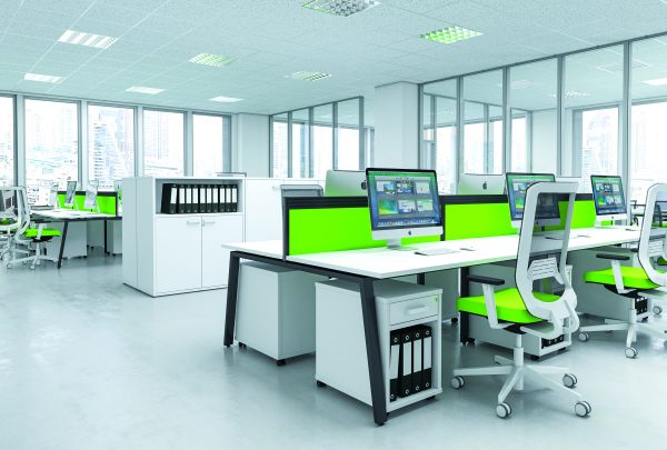A 3D render of an office design from Flow. Modern lime green and white office design with ergonomic seating.