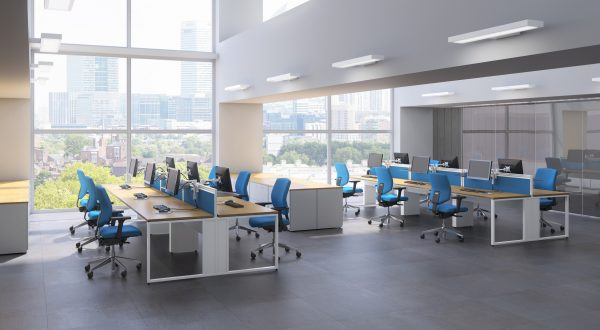 This airy. open plan office design is perfect for call centres.