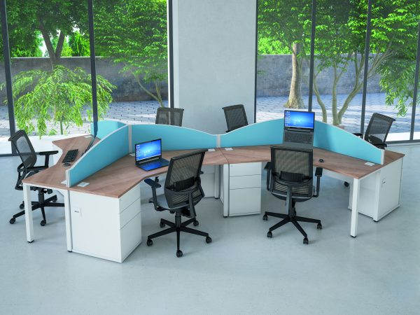 Shaped corner desks with partitioning, wood effect surfaces with white drawers.