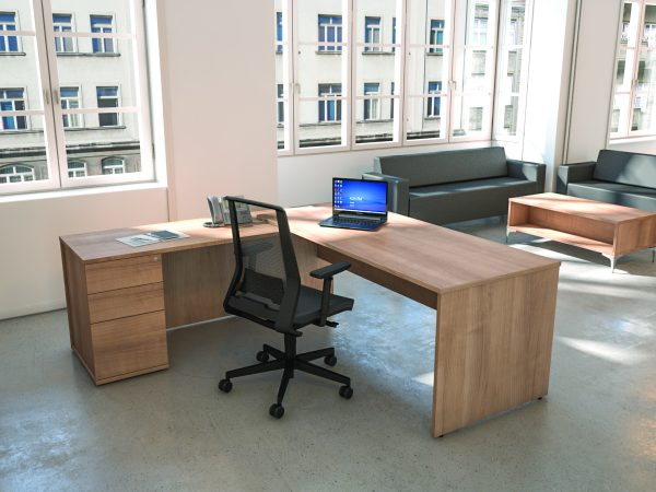 An example of furniture within a single office, such as a manager's office or boardroom.