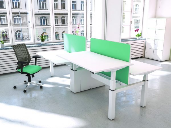 A real trend in office refit right now are 'standing desks'. Like these white standing desks pictured, they are mains operated. Great for posture, ergonomics and staying active in the office.