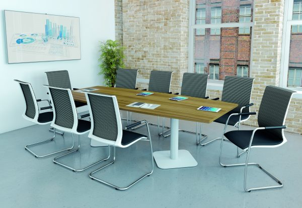 Wood meeting room table with mesh chairs