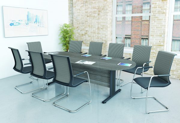 Wood meeting room table with mesh chairs grey