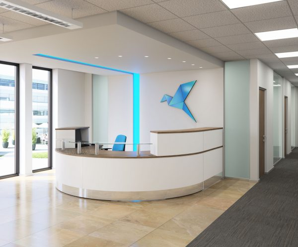 XRange reception furniture. Modern white reception area, curved reception desk with brushed metal kick board.