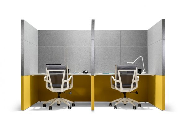yellow and grey office pods