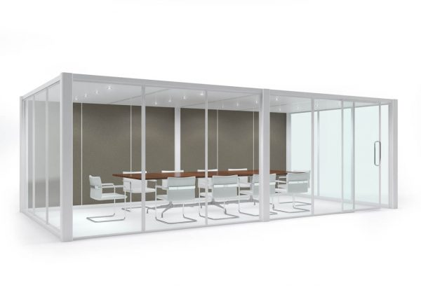modern white office meeting space