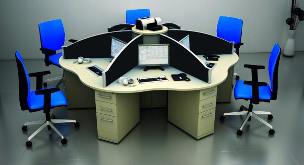Again, these cluster desks move away from the traditional rows of furniture, and help with team work and inspiration.