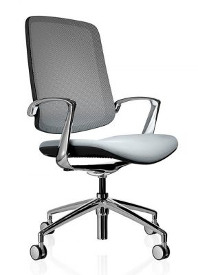 Trinetic Grey Mesh ergonomic office chairs, available from Flow Office Furniture and Interiors