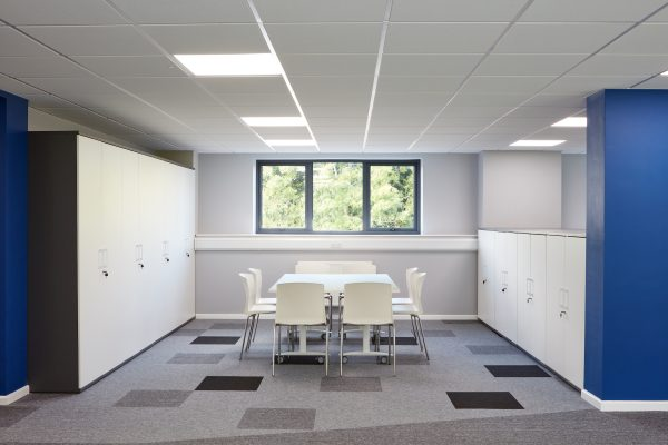 blue white and grey office space