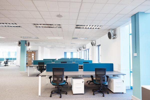 quay house office design blue desks