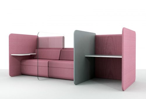 social distancing office furniture pink