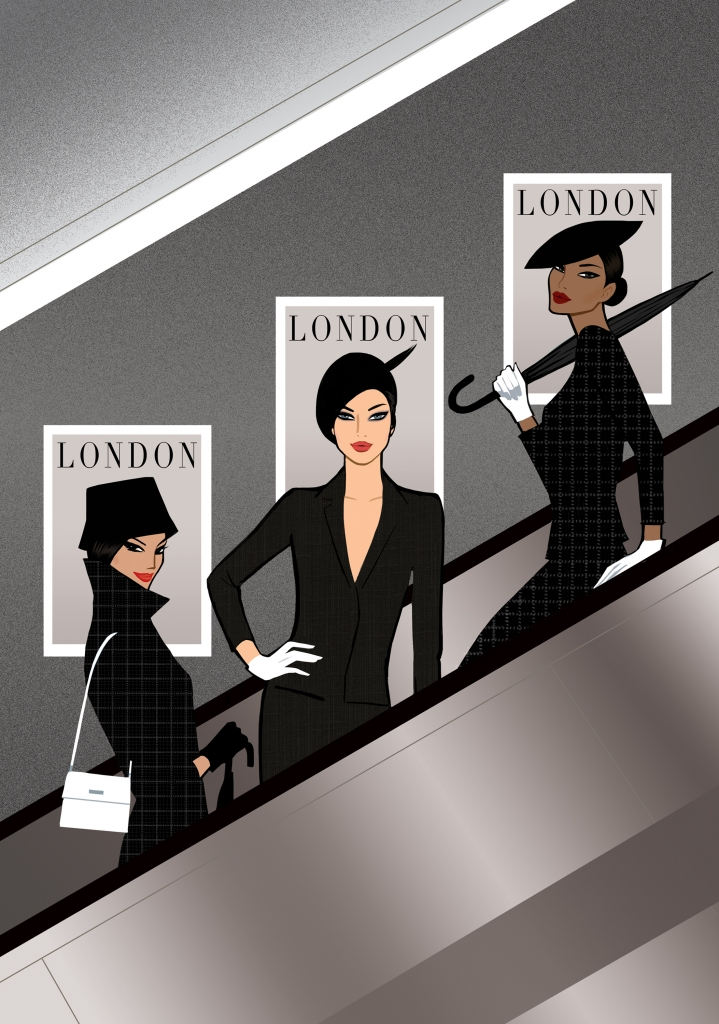 Illustration of three glamorous women on a london tube escalator