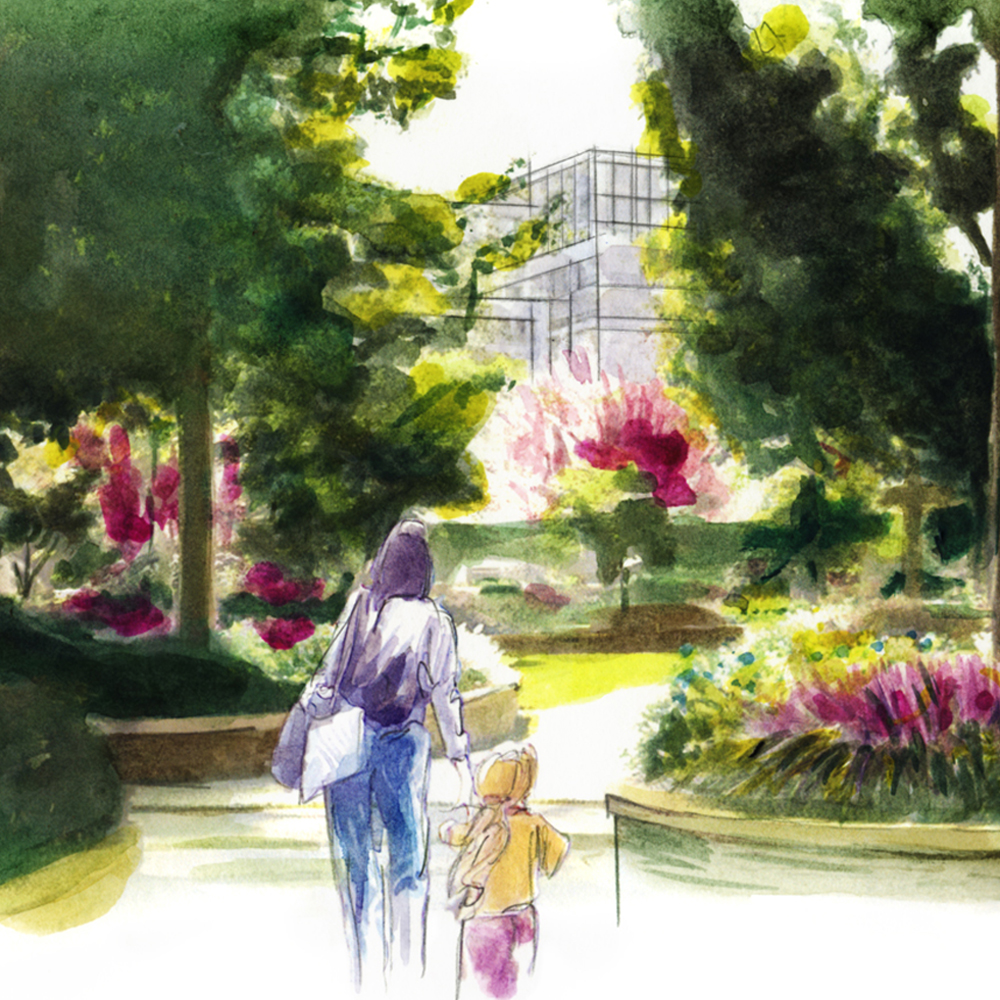 Crop of an illustration of a green area with a woman and child walking