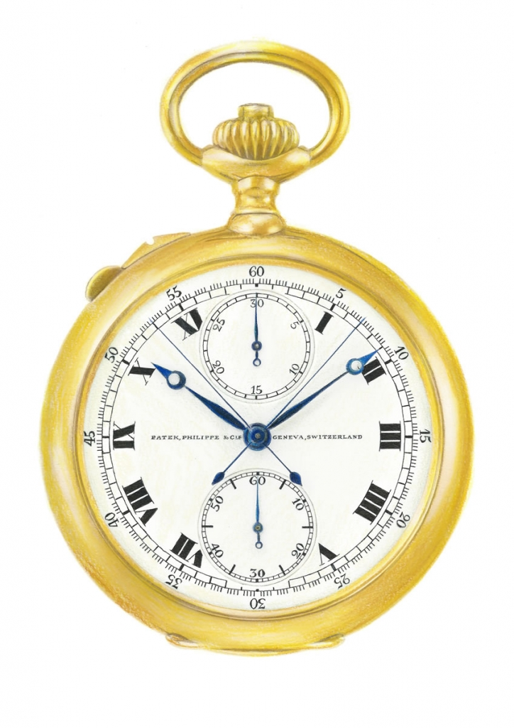 illustration of an antique patek philippe pocketwatch