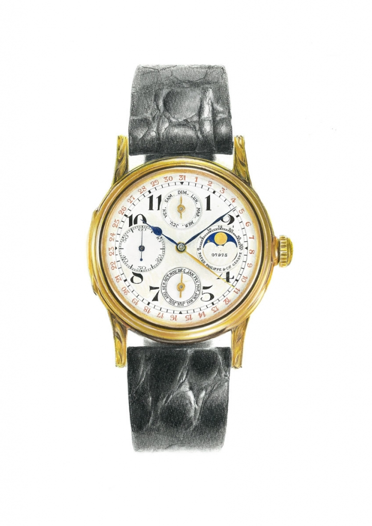 painting of a patek philippe wristwatch