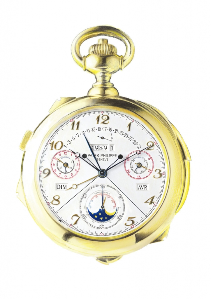 Photorealistic illustration of a Patek Philippe pocket watch
