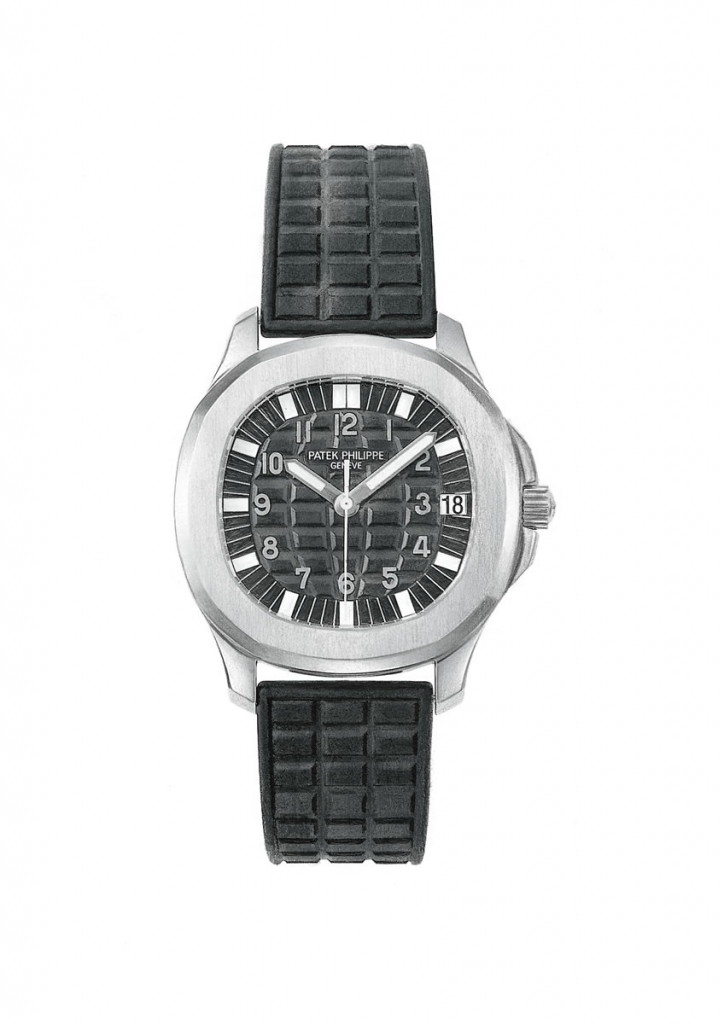 Black and white drawing of a Patek Philippe wristwatch