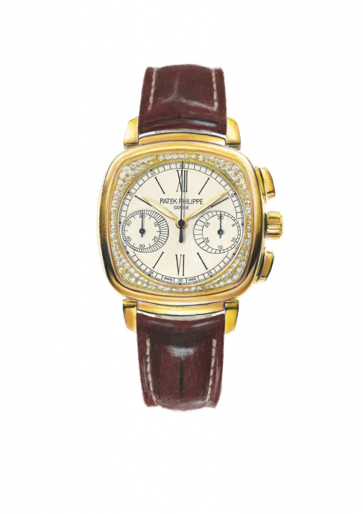 photorealistic painting of a ladies wristwatch