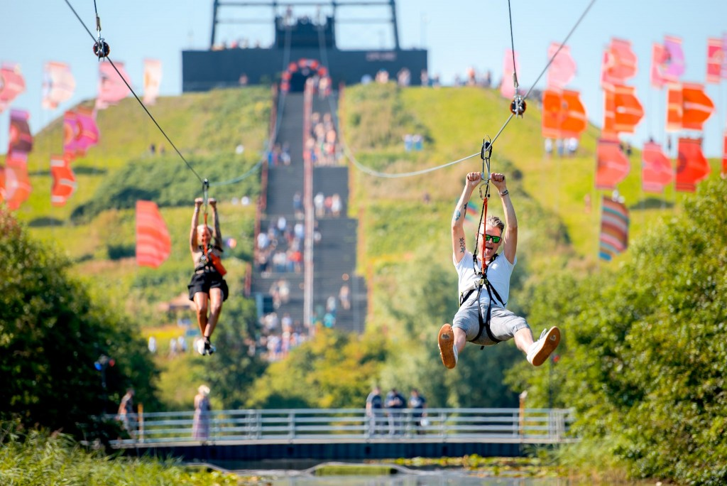 The Zip line at Mysteryland