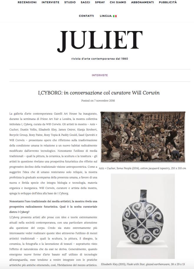I CYBORG | JULIET ART MAGAZINE | NOVEMBER 2016